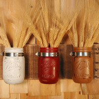 Country Chic mason jar trio on dark stained recycled board home decor