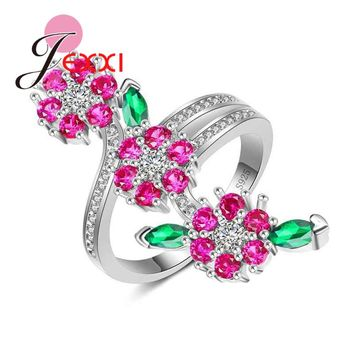 JEXXI 2018 New Stylish Women Nice Blossom Ring Rose Red&Green Crystal Branch Flower Shape 925 Sterling Silver Party Jewelry
