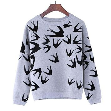 Swallow Printing Casual Long Sleeve  Sweatshirt