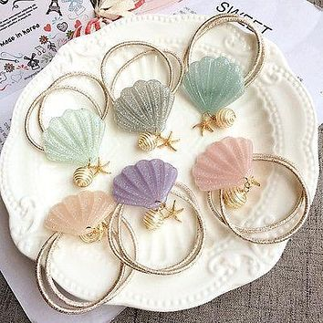 Seashell Hair Band Hair Rope Hair Accessories Elastic Mermaid Hairband Holder Hair Jewelry