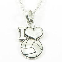 FTH I Heart Volleyball Pendant with Chain - Volleyball.Com