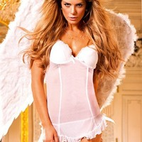 White Bridal Padded Cup Nightie Dotted Chemis Honeymoon Lingerie
