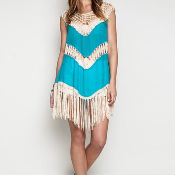 Crochet Fringe Tank Dress Teal