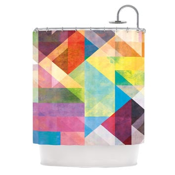 "Mareike Boehmer ""Color Blocking II"" Rainbow Abstract Shower Curtain"