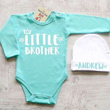 Little Brother Baby Clothes. Cute Baby Boy Clothes. Mint Baby Bodysuit With White Hat  Set. Personalized Little Brother Gift Set. Little Bro