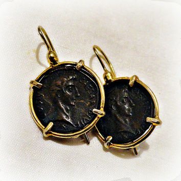 Roman Coin Earrings: Antique Ancient Replica Coin, Sterling Silver 22K Gold Gilded