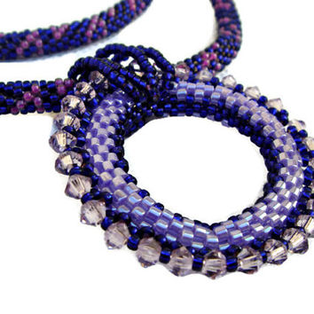 Beadwork Bead Pendant Necklace. Lilac Pendant with Swarovski elements.