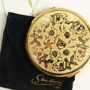 Powder Compact, Stratton Compact, Mirror Compact, Fish, Gold Compact, Handbag Mirror, Underwater Design, Summer Pattern, Makeup Case - 1980s