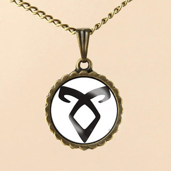 The Mortal Instruments necklace,City of Bones angelic power rune Necklace,Glass Pedant Necklace