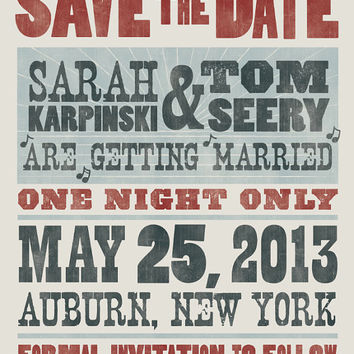 Save the Date Postcard- 100 Quantity- Hatch Show Print Inspired - Customized with Your Colors, and Wedding information - 4x6 Postcard