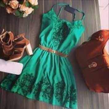 Feelingirl New Green Print Vintage Dress Elegant Strap Sexy Mini A-Line Dresses O-Neck Office Dress With Belt !!!  [7956100551]