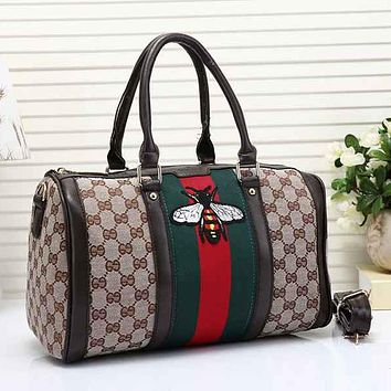 Gucci Men Travel Bag Leather Tote Handbag Shoulder Bag