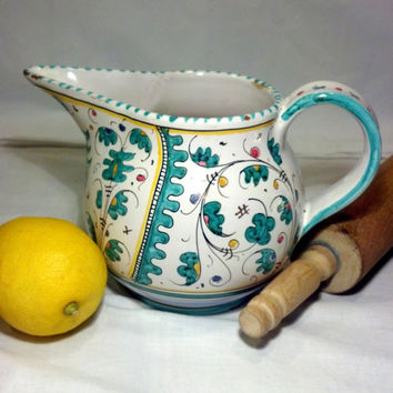 "Superb Antique Hand Painted Pitcher from Italy 1940""s -Vintage Majolica Pitcher -Collectible Gorgeous Seafoam Turquoise - Gift Idea"