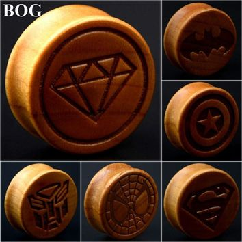Natural Wood Plugs / Carved Logo
