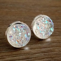 Druzy earrings-  Rainbow clear drusy silver tone stud druzy earrings