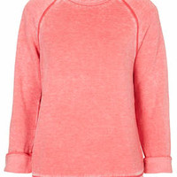Long Sleeve Burnout Sweat - Red