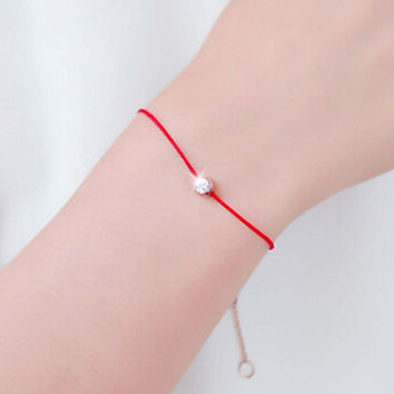 New Cute Red String Hand Rope Simple One Crystal 2 Colos  Rose Gold Plated Fashion Jewelry New Arrival Bracelets for Lovers