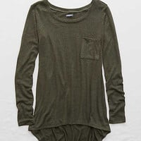 Aerie Real Soft® Pocket Tee , Camo Green