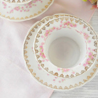 Antique Romantic Cottage Pink Rosebuds Ramekins with Under plates, Set of 2, Appetizers, Tea Party, Cottage Style, French Country