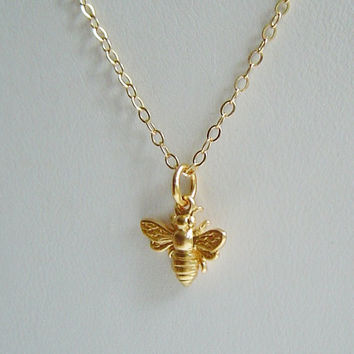 Tiny Gold Vermeil Bee Charm on 14K Gold filled Chain Necklace . Bridal Gift . Personalize it with a Gemstone