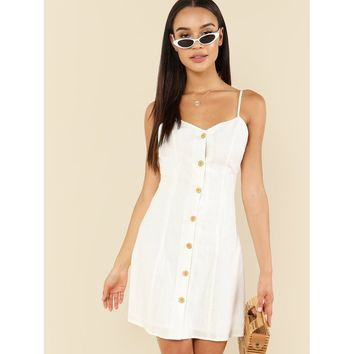 Button Up Front Cami Dress