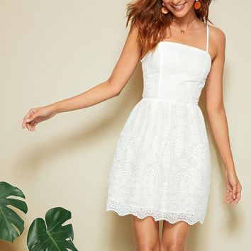 Shirred Schiffy Slip Dress