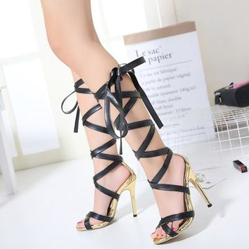 New Bandage patent leather Gladiator Style Lace Up Ankle Boots