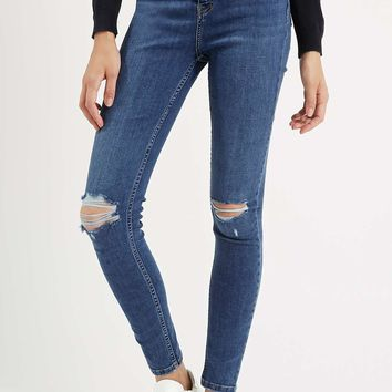 MOTO Mid Blue Ripped Jamie Jeans - Topshop
