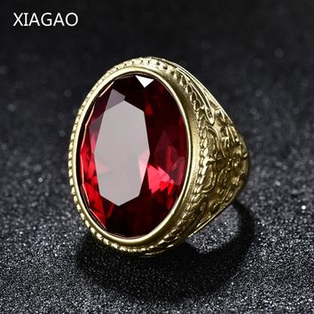 XIAGAO Real 316L stainless steel Red Ring Men's big red Crystal red stones Finger Rings for man Gothic Casting Ring