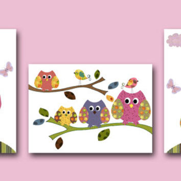 Owls Nursery Wall Art Nursery Art Baby Nursery Kids Art Decorations Owls Room Decor Owls Nursery Print Set of 3 Baby Girl Nursery Rose
