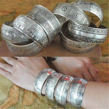 Gypsy Square Flower Metal Tibetan Silver Vintage Retro Fashion Cuff Wide Bracelet Bangle XY3001