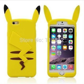 ESBONG Hot New Cartoon Cute 3D Pocket Monsters Pikachu Pokemon Funny Silicone Cover Case For iphone 6 plus ' 5.5 inch SJK754 [8864196743]