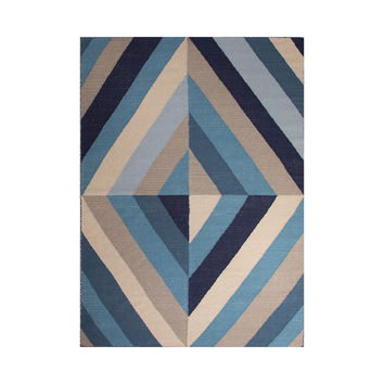 Blue Diamonds Flat-Weave Rug