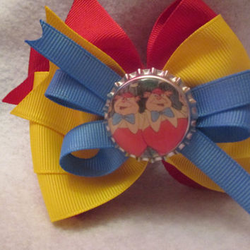 Tweedle Dee and Tweedle Dum inspired hair bow