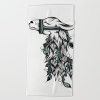 Poetic Llama Beach Towel by LouJah