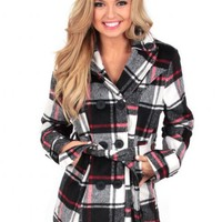 Red Lips Plaid Peacoat   Monday Dress Boutique