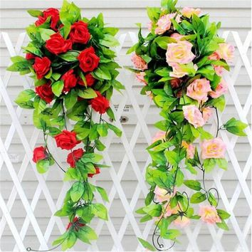 Simulation of plants draped rose flower rattan home wedding dresses garland decoration