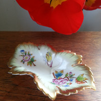 Herend Hungary handpainted porcelain leaf shaped dish, Queen Victoria pattern with butterflies, flowers and gilding..
