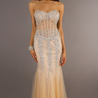 Embellished Strapless Mermaid Gown