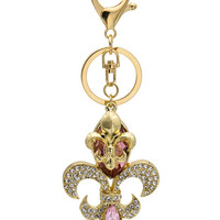 Gold Plated Rhinestone Rose Keychain