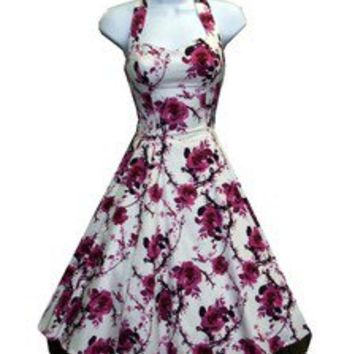 H & R London dress PINK FLOWER FLORAL 40s 50's Halter Pinup Vintage Retro 6581