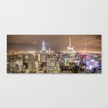 New York City at night neon lights NYC skyline Empire State Building Big Apple skyscraper photograph Canvas Print by igalaxy