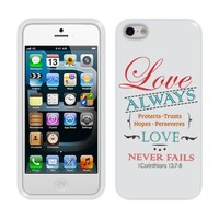 Fincibo (TM) Apple iPhone 5 5S TPU Silicone Protector Case Cover Soft Gel Skin - 1 Corinthians 13:7-8