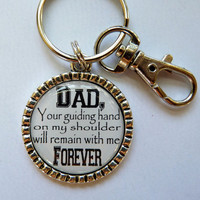 Father of the Bride Gift Keychain Dad your guiding hand on my shoulder will remain with me forever personalized beautiful quote bride