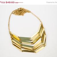 SPRING SALE Chevron Pendant Raw Brass Necklace