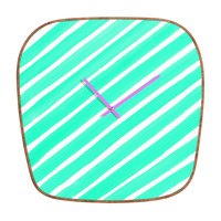 Rebecca Allen Pretty In Stripes Turquoise Modern Clock