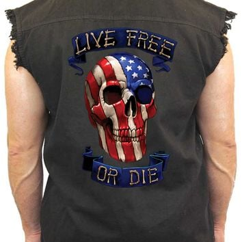 Men's Sleeveless Denim Shirt USA Flag Skull Live Free or Die Biker