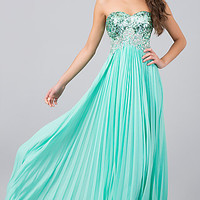 Long Strapless Prom Dress with Sequins