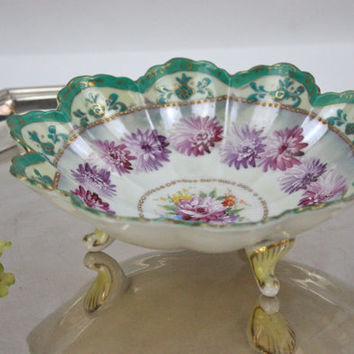 Nippon Moriage Bowl / Hand Painted Chrysanthemums / Home Decor
