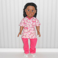 American Girl Doll Clothes Pink Medical Scrubs with Flowers for Doctor or Nurse and White Shoes fits 18 inch dolls